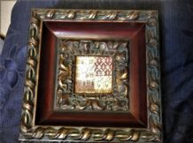 "DEEP GLAZED ORNATE GILT FRAME WITH COLOURFUL PANEL INSET 9"" SQUARE X 2.5"" THICK"